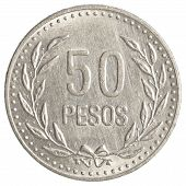 stock photo of colombian currency  - 50 Colombian pesos coin isolated on white background - JPG