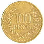picture of colombian currency  - 100 Chilean Pesos coin isolated on white background - JPG