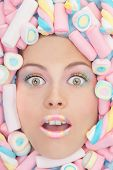 foto of sweetie  - sweetie candy fashion woman with makeup - JPG