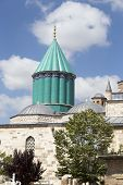 image of sufi  - Tomb of Mevlana the founder of Mevlevi sufi dervish order with prominent green tower in Konya Turkey - JPG