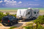 stock photo of travel trailer  - travel trailer in a camping in the florida keys - JPG