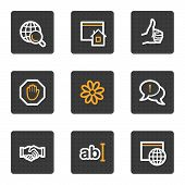 image of internet icon  - vector web icons grey square buttons series - JPG