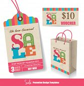 Sale Tag, Paper Bag & Voucher Design Templates