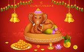 picture of indian elephant  - illustration of statue of Lord Ganesha made of clay Ganesh Chaturthi - JPG