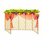 stock photo of sukkoth  - vector illustration of decorated sukkah for celebrating Sukkot - JPG