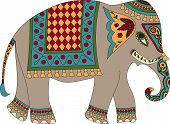 image of indian elephant  - Stylized patterned elephant in Indian style isolated on whute - JPG