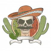 image of sombrero  - vintage mexican skull with sombrero and mustache - JPG