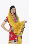 image of dupatta  - Portrait of an attractive Indian female in traditional wear standing over white background - JPG