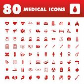 stock photo of heart surgery  - A set of eighty unique icons with medical themes - JPG