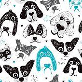 stock photo of chihuahua mix  - Seamless dog illustration set decorative background pattern in vector - JPG