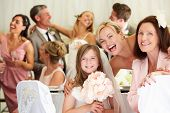 stock photo of grandmother  - Bride With Grandmother And Bridesmaid At Wedding Reception - JPG