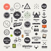 Hipster style infographics elements and icons set for retro design. With bicycle, phone, sunglasses, mustache, bow, anchors, apple and camera. Vector illustration. poster