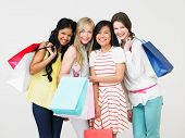 stock photo of 15 year old  - Group Of Teenage Girl With Shopping Bags - JPG