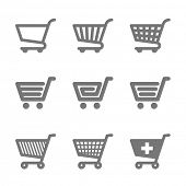 stock photo of cart  - Shopping cart icons - JPG