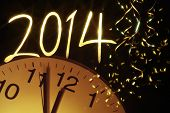 stock photo of analog clock  - new year clock before midnight - JPG