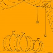 foto of bitch  - Sketch of pumpkins and spider web on abstract yellow background - JPG