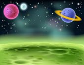 stock photo of alien  - An illustration of an outer space cartoon background with colorful planets - JPG