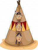 foto of teepee  - Illustration of a Native American Family Peeking from a Teepee - JPG