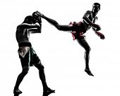 picture of muay thai  - two caucasian  men exercising thai boxing in silhouette studio  on white background - JPG