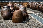stock photo of kimchi  - Traditional Korean kimchi jars  for preseving kimchi - JPG