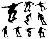 stock photo of skate board  - skateboarders silhouettes collection - JPG