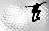 stock photo of skate board  - skateboarder silhouette on the abstract halftone background - JPG