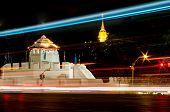 stock photo of kan  - Ancient Thai fortress named Pom Maha Kan at night in BangkokThailand - JPG