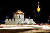 picture of kan  - Ancient Thai fortress named Pom Maha Kan at night in BangkokThailand - JPG