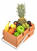 A wooden box crate of fresh fruit