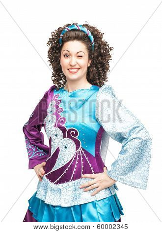 Woman In Irish Dance Dress Winking