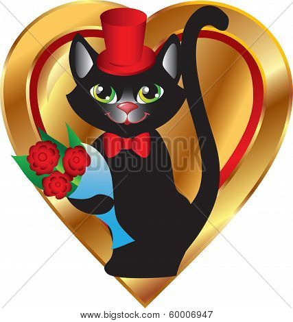 cat with flowers on heart background