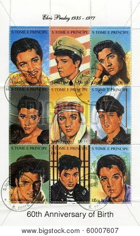 SAO TOME AND PRINCIPE - CIRCA 1995. A postage stamps printed by S.Tome and Principe shows image portrait of famous American singer Elvis Presley (1935-1977), circa 1995.