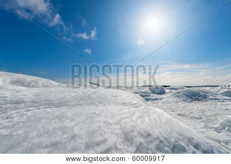 Frozen Seashore In Winter