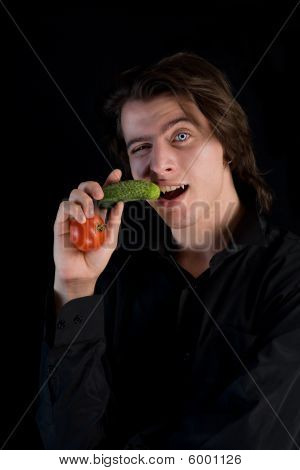 Vegetarian Vampire With Vegetables, Healthy Eating Concept