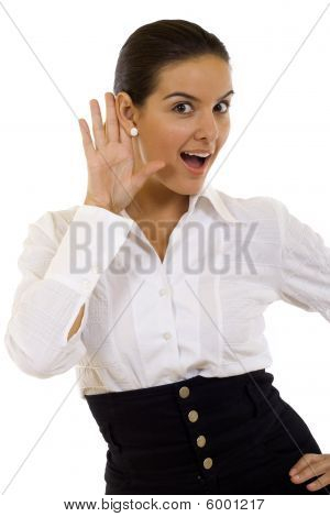 Businesswoman With Her Hand To Her Ear