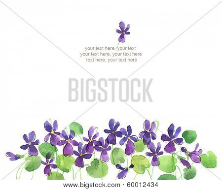 Watercolor card with violet flowers