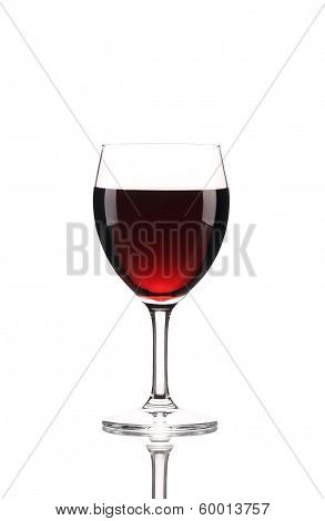 Close up of red wine glass.