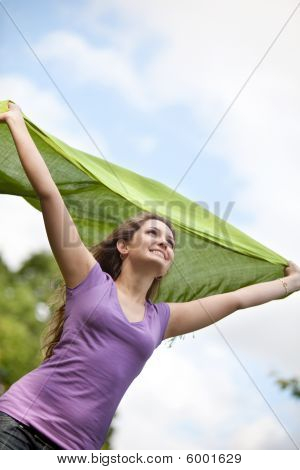 Woman Feeling The Wind