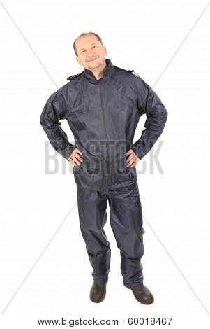 Man in waterproof clothes.