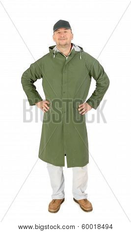 Man in waterproof coat with hood.