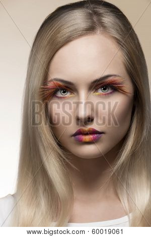 Lady With Colorful Creative Make-up