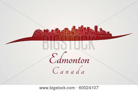 Edmonton Skyline In Red