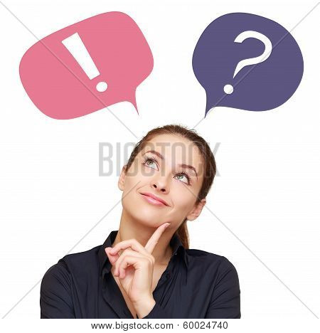 Thinking Woman With Colorful Question Mark And Exclamation In Balloons Isolated