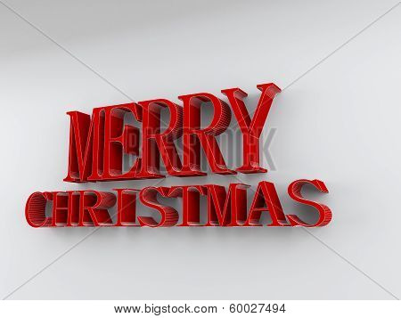 Merry Christmas In Red Rendered Letters On A White Background