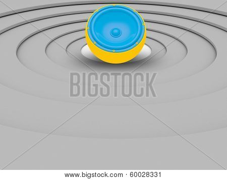 3D Illustrations Of Colorful Small Speaker Isolated Over Circular White Background