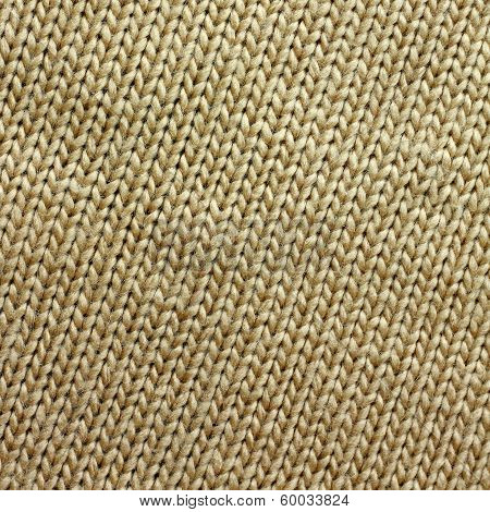 Tan Knitted Tweed Fabric Square Background