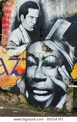 Wall Painting, Pointe-a-Pitre, Guadeloupe, Caribbean