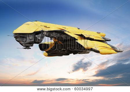 Science fiction scene of a futuristic ship