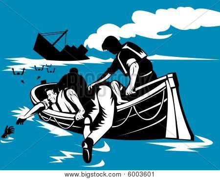 Men on lifeboat with sinking ship in background