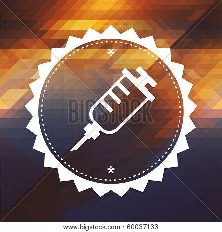 Syringe Icon on Triangle Background.